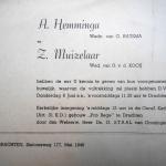 Huwelijksaankondiging A. Hemminga en Z. Muizelaar, mei 1946.