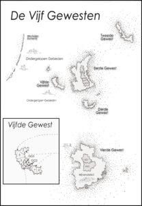 Kaart van De Vijf Gewesten - Overstroomd - door Jen Minkman getekend